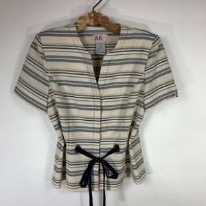 Cream & Navy Blue Striped Jacket 10 Cinch Waist
